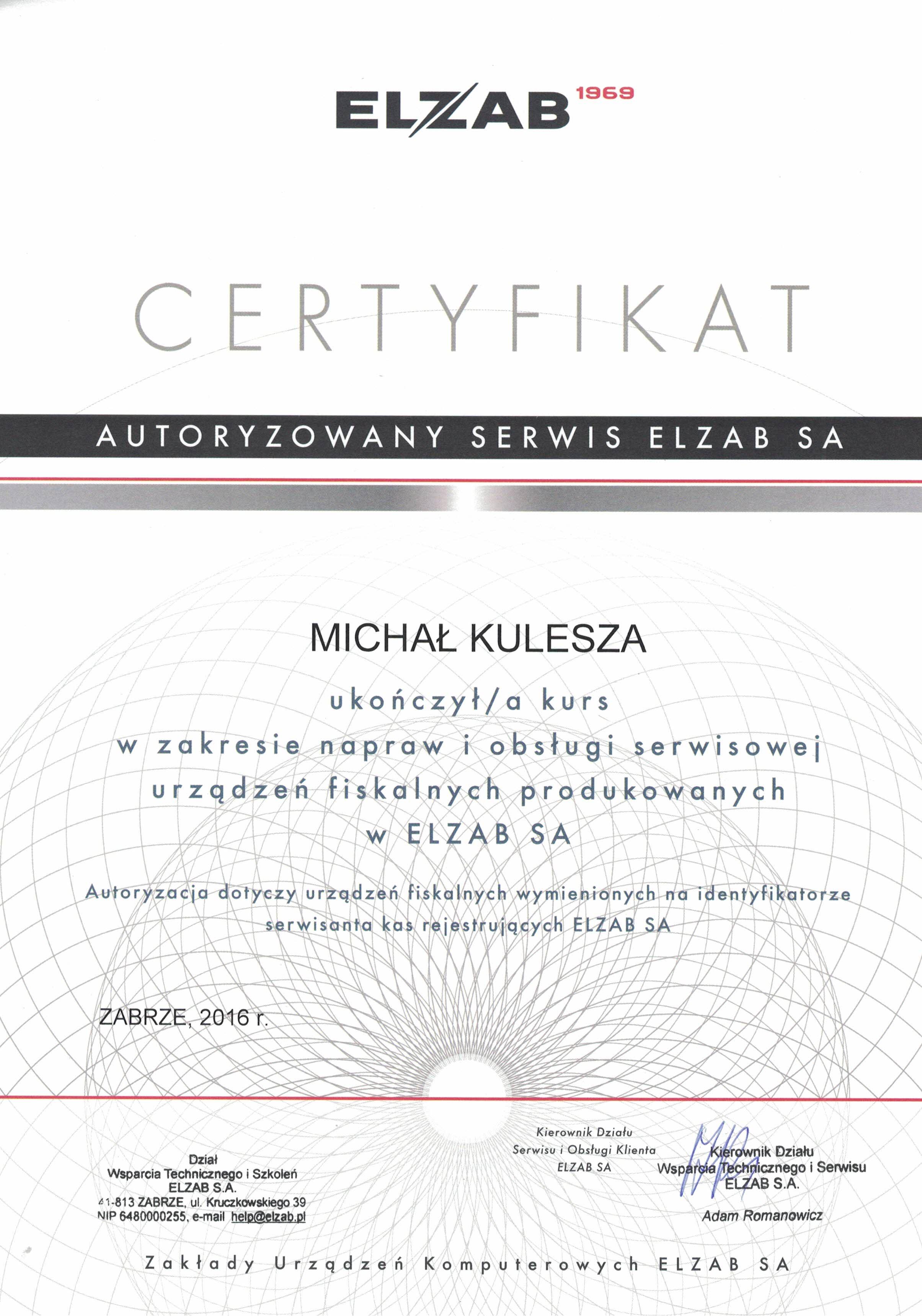 ELZAB Certyfikat