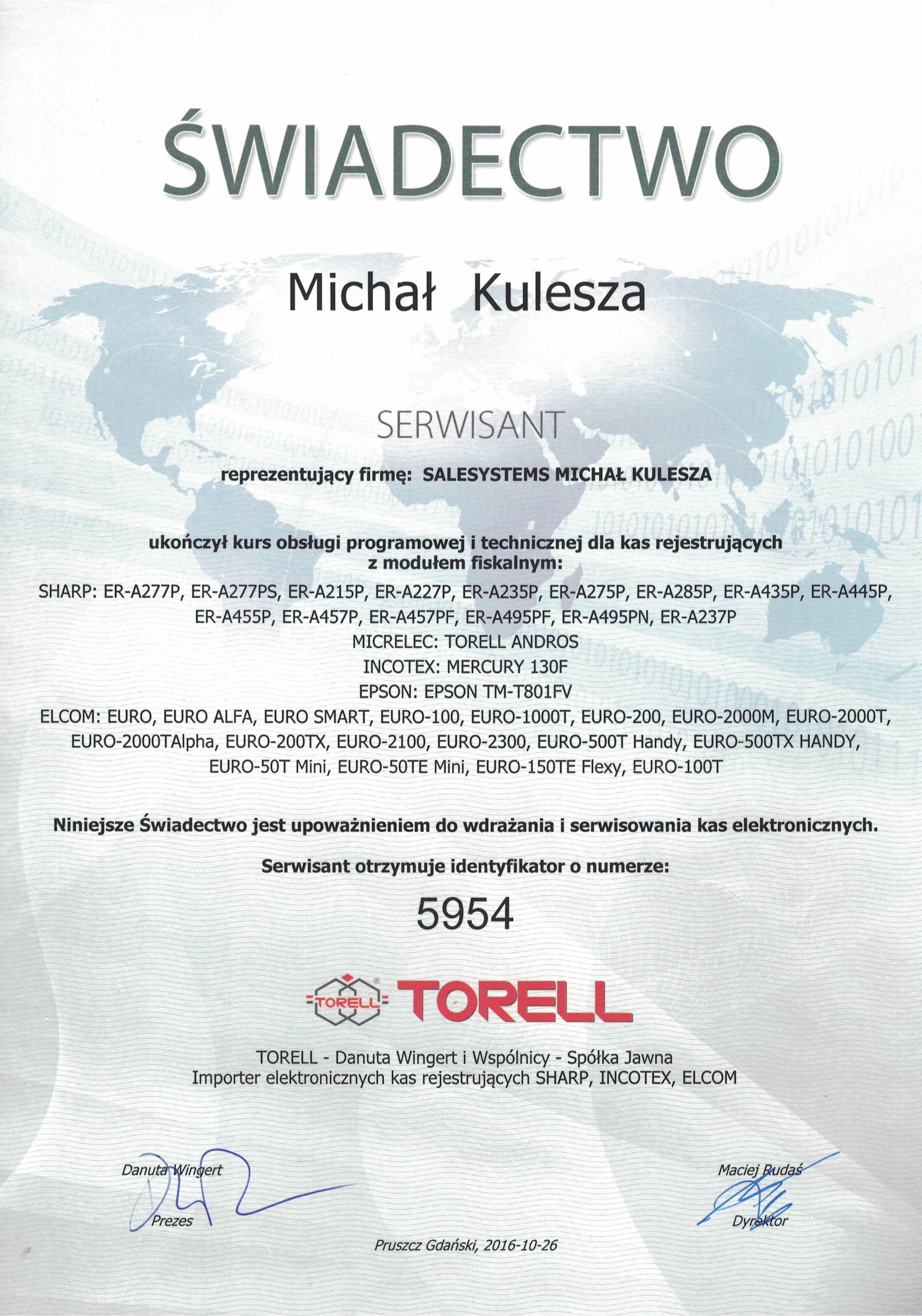 TORELL Certyfikat