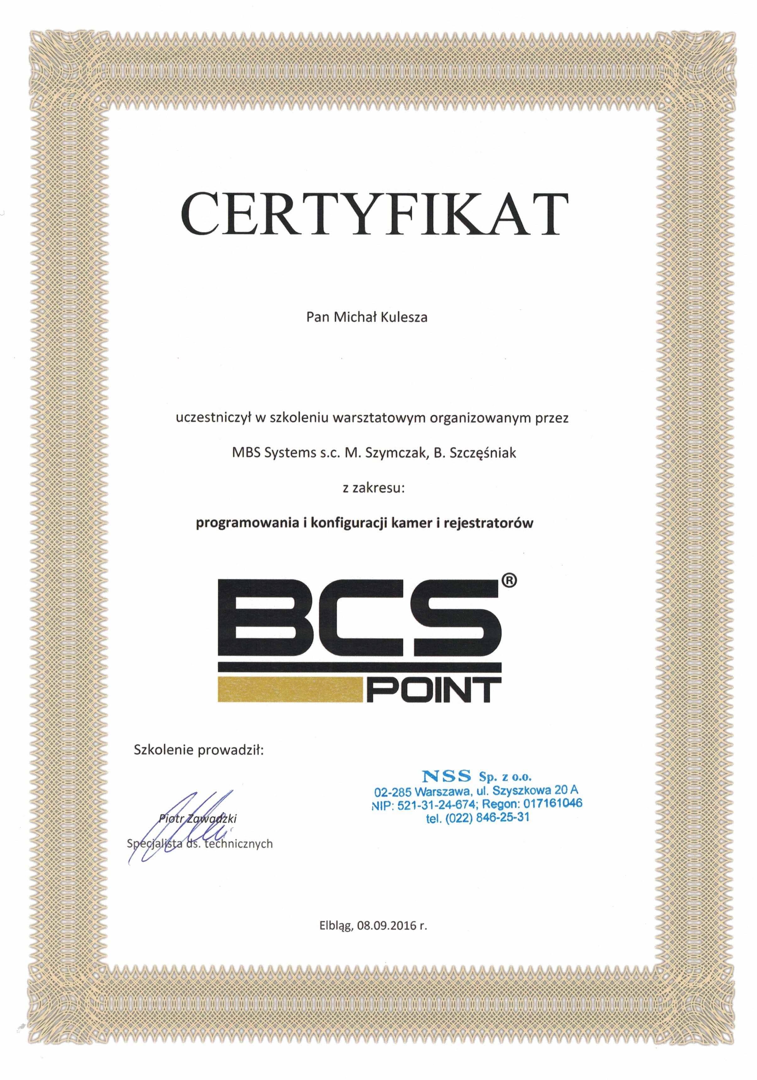 BCS Certyfikat
