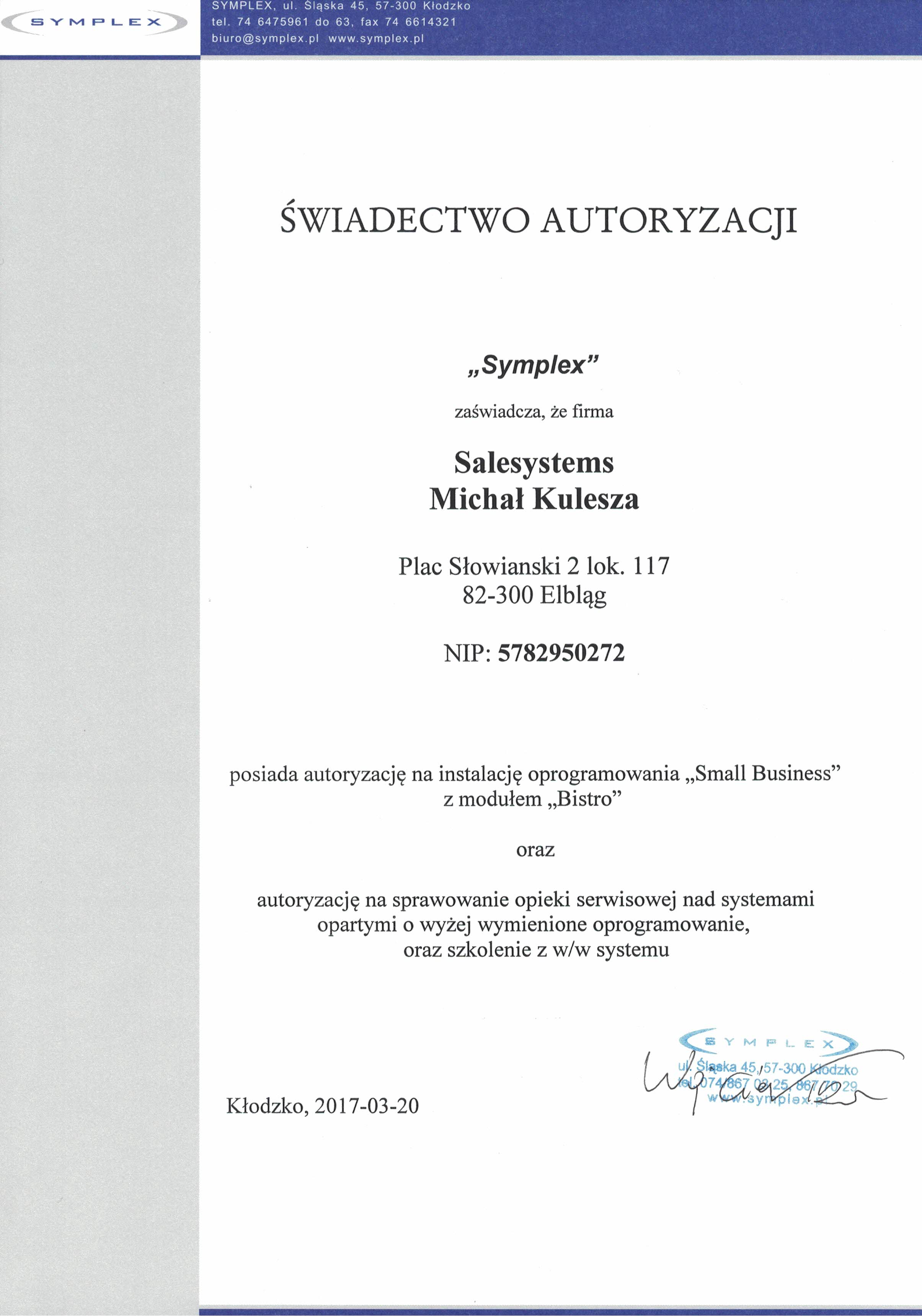 Small Business Symplex Certyfikat